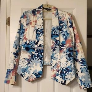 Mossimo floral fitted stretch twill blazer